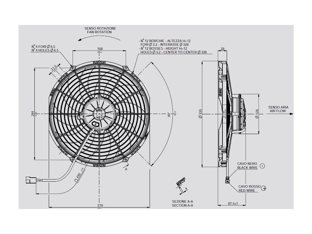 Ventilátor SPAL 12V VA10-AP70/LL-61S
